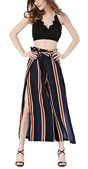f5168aebbaa Zegoo Women s and Girls Loose Chiffon Striped Belted Wide Leg Cropped Pants