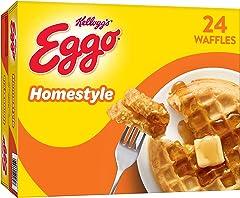 Eggo Frozen Waffles, Frozen Breakfast, Toaster Waffles, Family Pack, Homestyle, 29.6oz Box (24 Waffles)