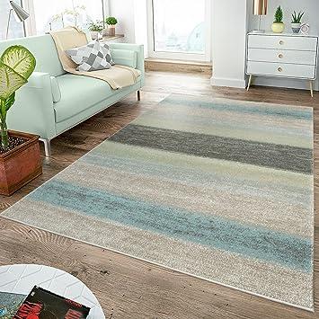 Amazon.de: Moderner Teppich Wohnzimmer Teppiche Breite Streifen ...