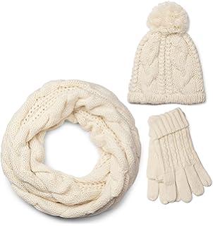 a696a7c528f886 styleBREAKER Schal, Mütze und Handschuh Set, Zopfmuster Strickschal mit  Bommelmütze und Handschuhe, Damen