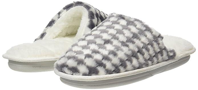 Damen Ladies Textured Fur Mule Slippers Pantoffeln