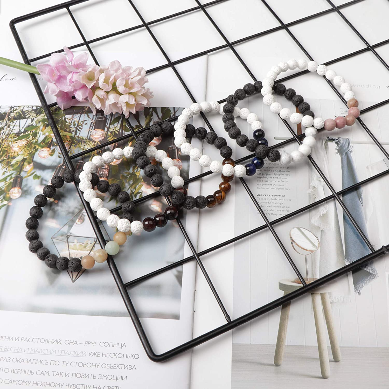 LOYALLOOK Lava Stone Bracelet Chakras Bead Natural Stone Bracelet Oil Diffuser Bracelet