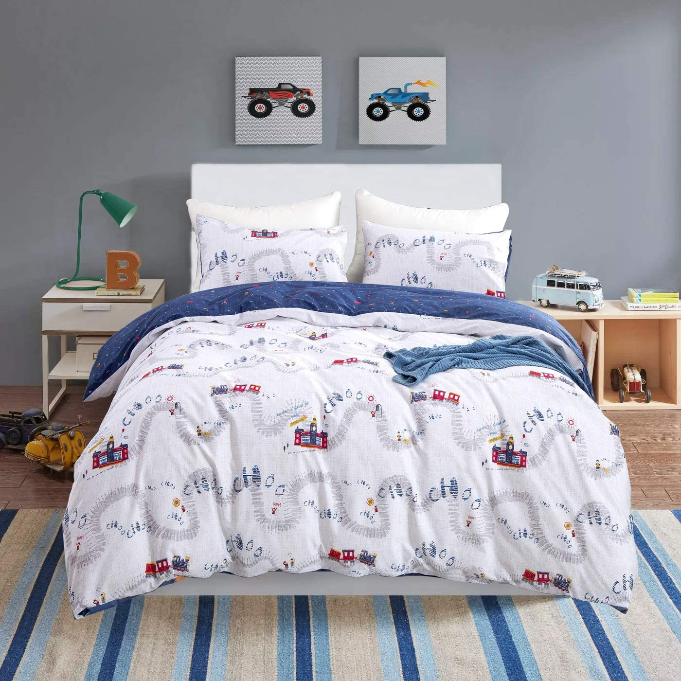 Wellboo Boys Bedding Sets Train Station Cartoon Duvet Covers Queen Full Kids Children Bedding Covers Cotton Transport White and Blue Duvet Covers Reversible Travel Durable Breathable Healthy No Insert