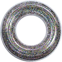Abimy Sequins Swimming Rings for Kids, Durable Transparent Swimming Tube Toy with Colorful Sparkling Glitters, Summer…