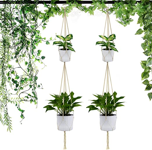 YCDC algodón cuerda planta perchas 2PCS Set: Amazon.es: Jardín