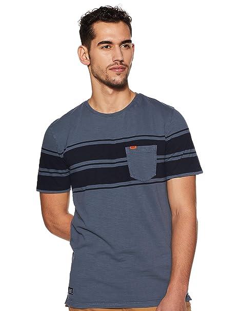 Superdry Hombre Camiseta de Rayas Originales de Dry, Azul, Small ...