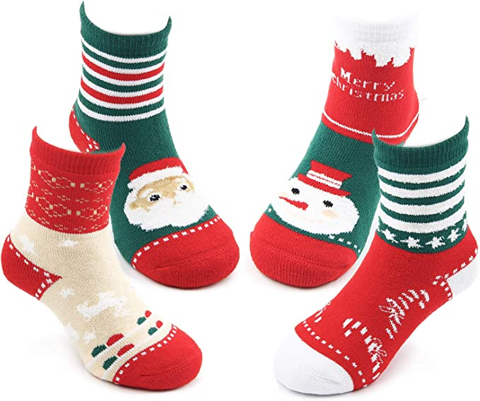 Baby Boys Girls Christmas Xmas Socks with Grippers Anti Non Slip Silicone ABS Warm Winter Soft Festive Santa Snowman Size 0-0 0-2.5 3-5.5