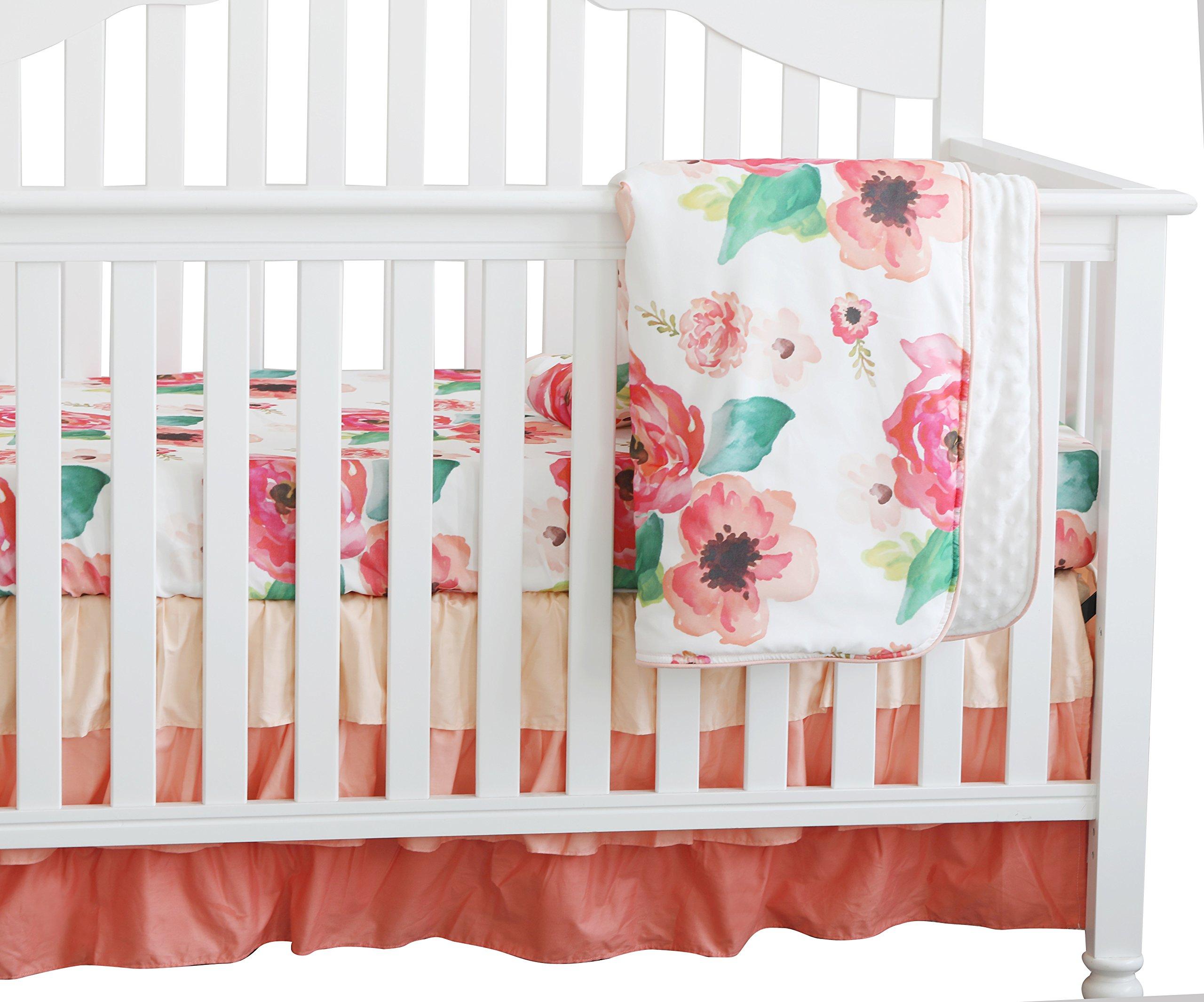 3 pcs Set Boho Floral Ruffle Baby Minky Blanket Water Color, Peach Floral Nursery Crib Skirt Set Baby Girl Crib Bedding (Coral)