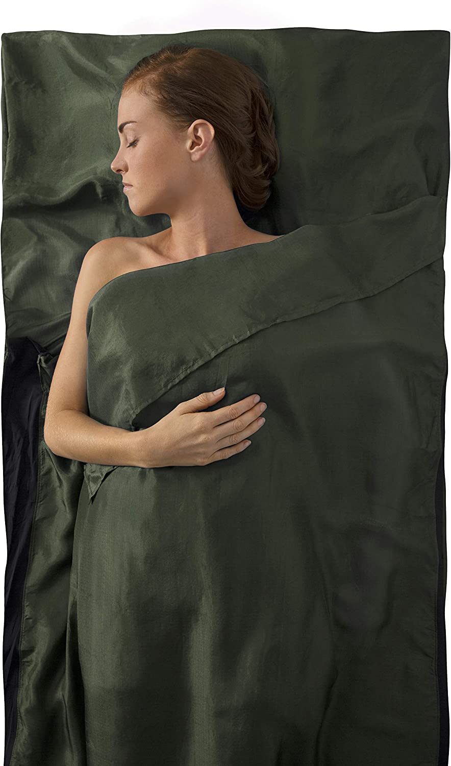 Sea to Summit Premium Silk Travel Liner, Eucalyptus Green, Traveler w/ Pillow Insert (85 x 36in)
