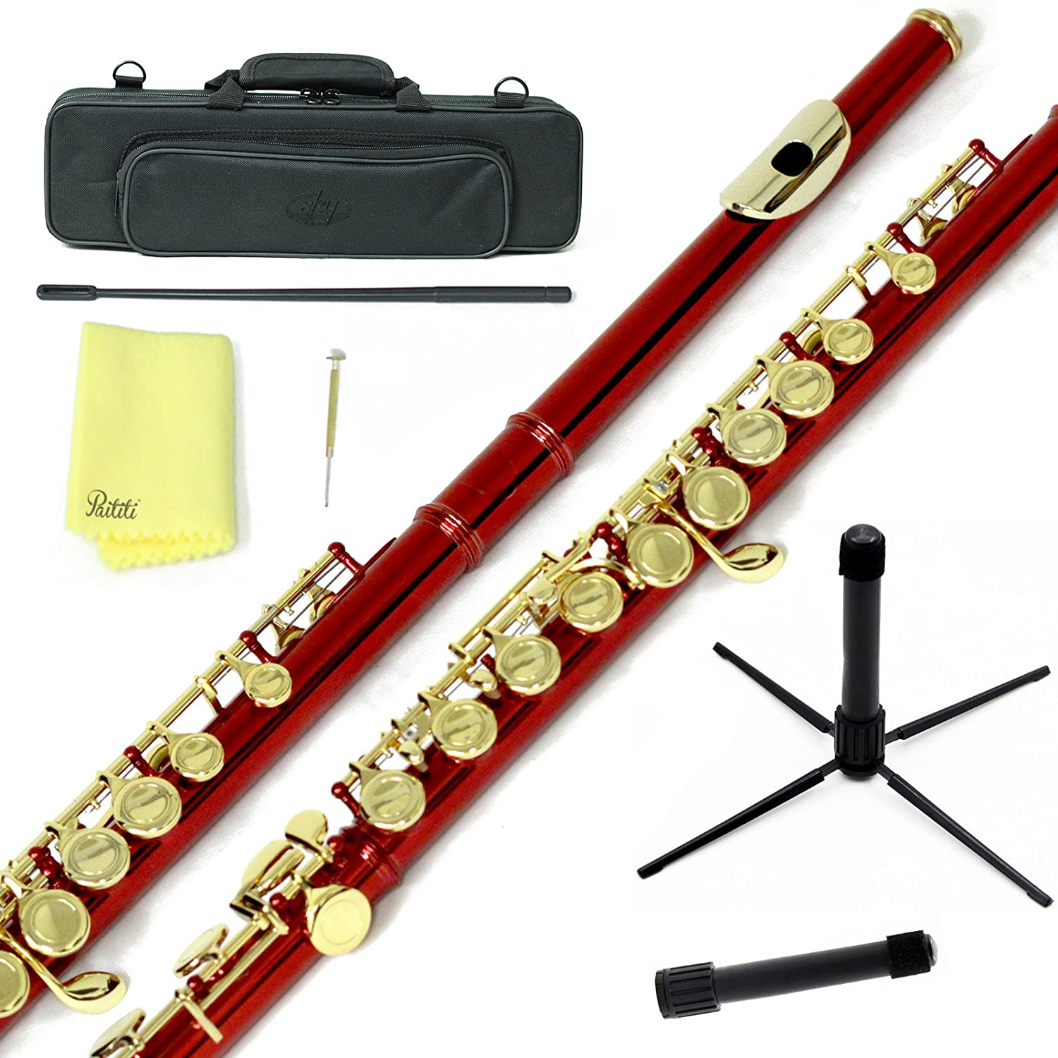 Sky C Flute with Lightweight Case, Cleaning Rod, Cloth, Joint Grease and Screw Driver - Silver/Silver Closed Hole 762022612806