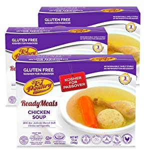 Kosher For Passover Food Matzo Ball Chicken Soup - MRE Meat Meals Ready to Eat - Gluten Free (3 Pack) - Prepared Entree Fully Cooked, Shelf Stable Microwave Dinner