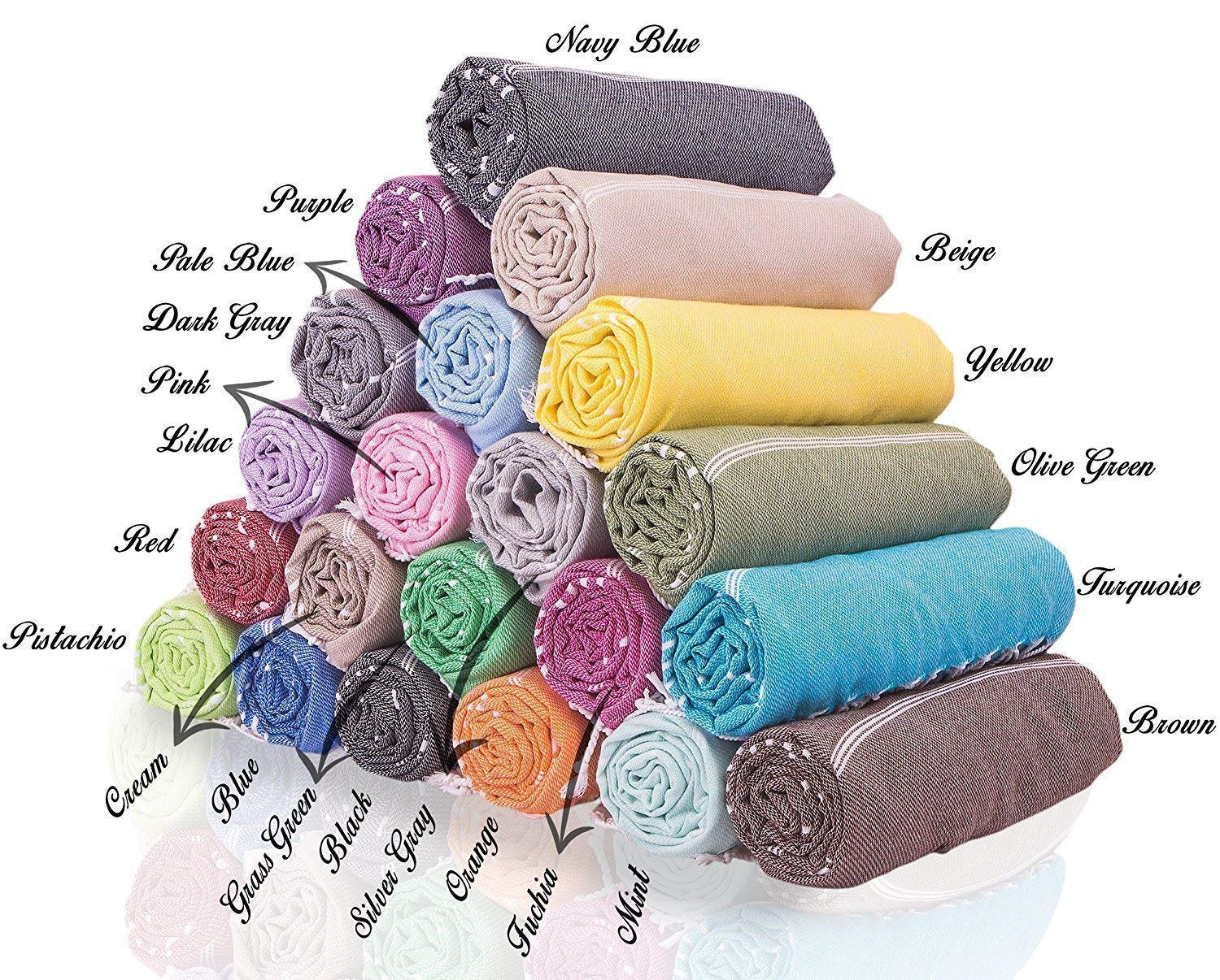 (Set of 6 XL)21 Color Variants Turkish Cotton Peshtemal Towels, Bath, Hand, Face, Gym, Fitness, Beach, Pool, Spa, Hammam Sheet with Stripes - Fast Drying and Absorbent - Choose Colors as you wish!