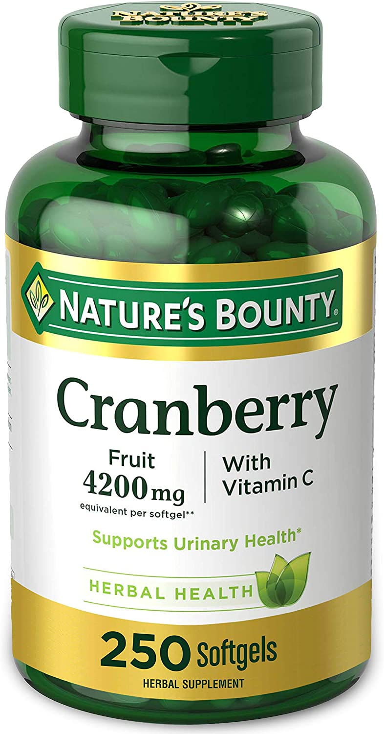 Cranberry Pills w/ Vitamin C by Nature's Bounty, Supports Urinary & Immune Health, 4200mg Cranberry Supplement, 250 Softgels: Health & Personal Care