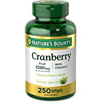 Nature's Bounty Cranberry Pills and Vitamin C Herbal Health Supplement, Supports Urinary Health, 4200mg, 250 Softgels