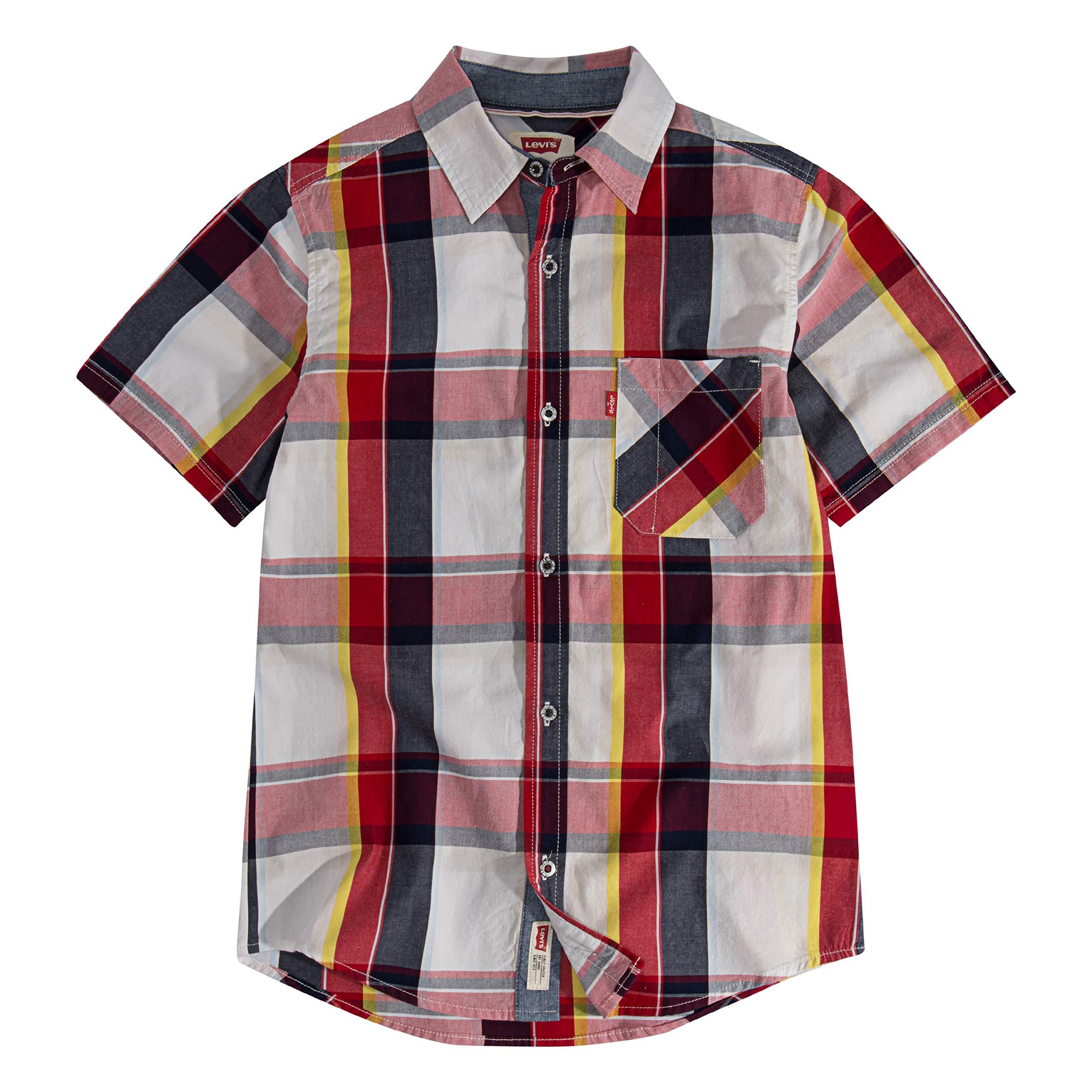 Levi's Boys' Big Short Sleeve Button Up Shirt, Marshmallow Plaid, L