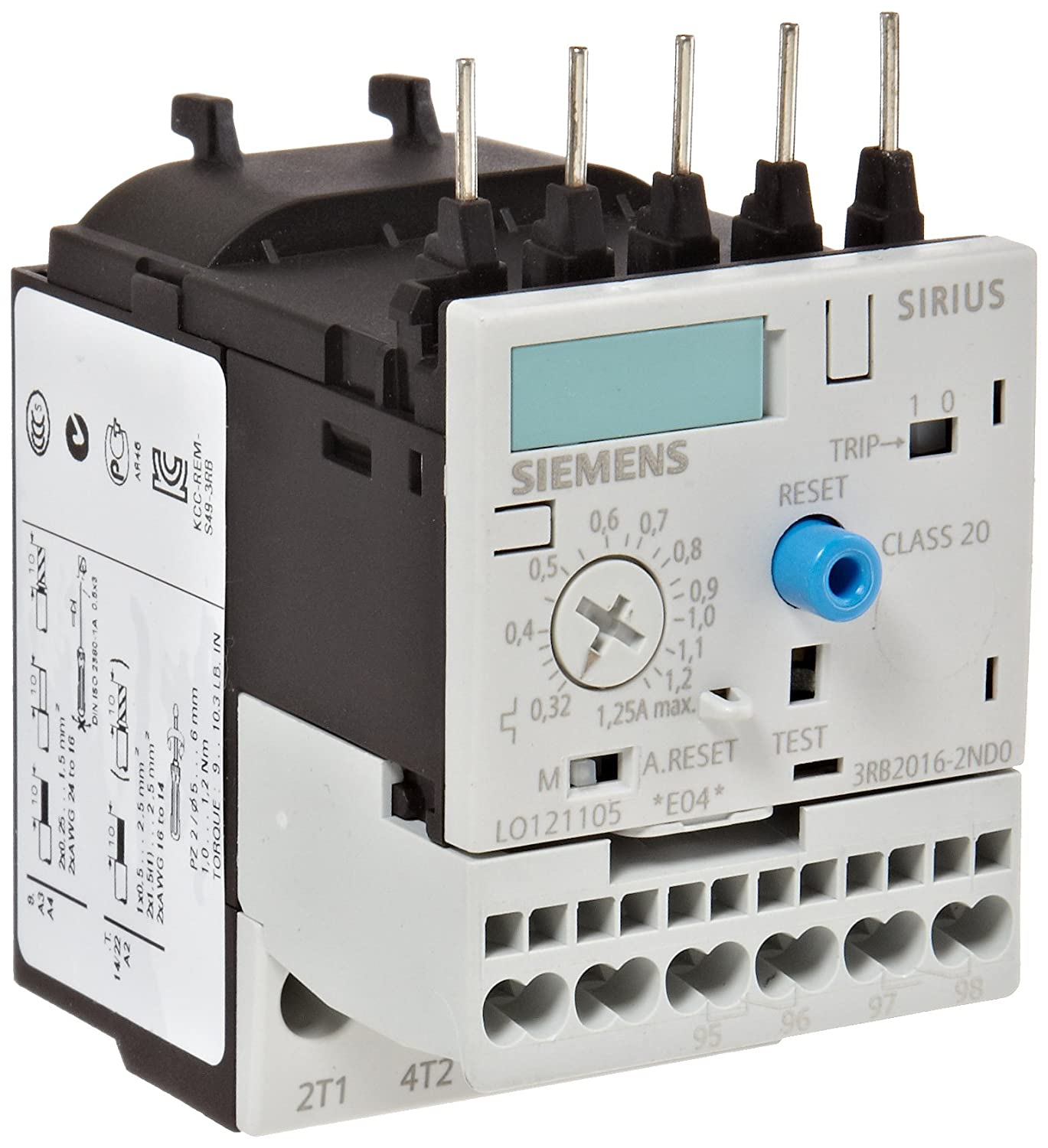 S00 Contactor Size Class 20 Siemens 3 RB20 16-2 ND0 Solid State Overload Relay 0.32-1.25A Set Current Value 3RB20162ND0