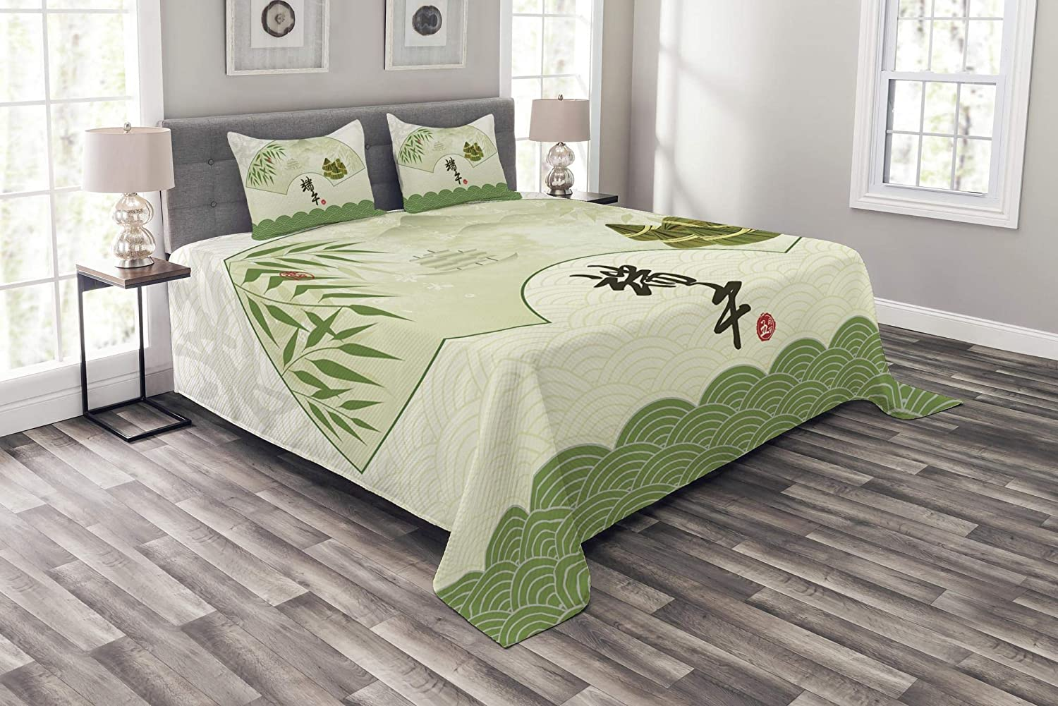 Lunarable Green Oriental Bedspread, Chinese Dragon Boat Festival with Abstract Rice Dumpling Bamboo Background, Decorative Quilted 3 Piece Coverlet Set with 2 Pillow Shams, Queen Size, Green Grey
