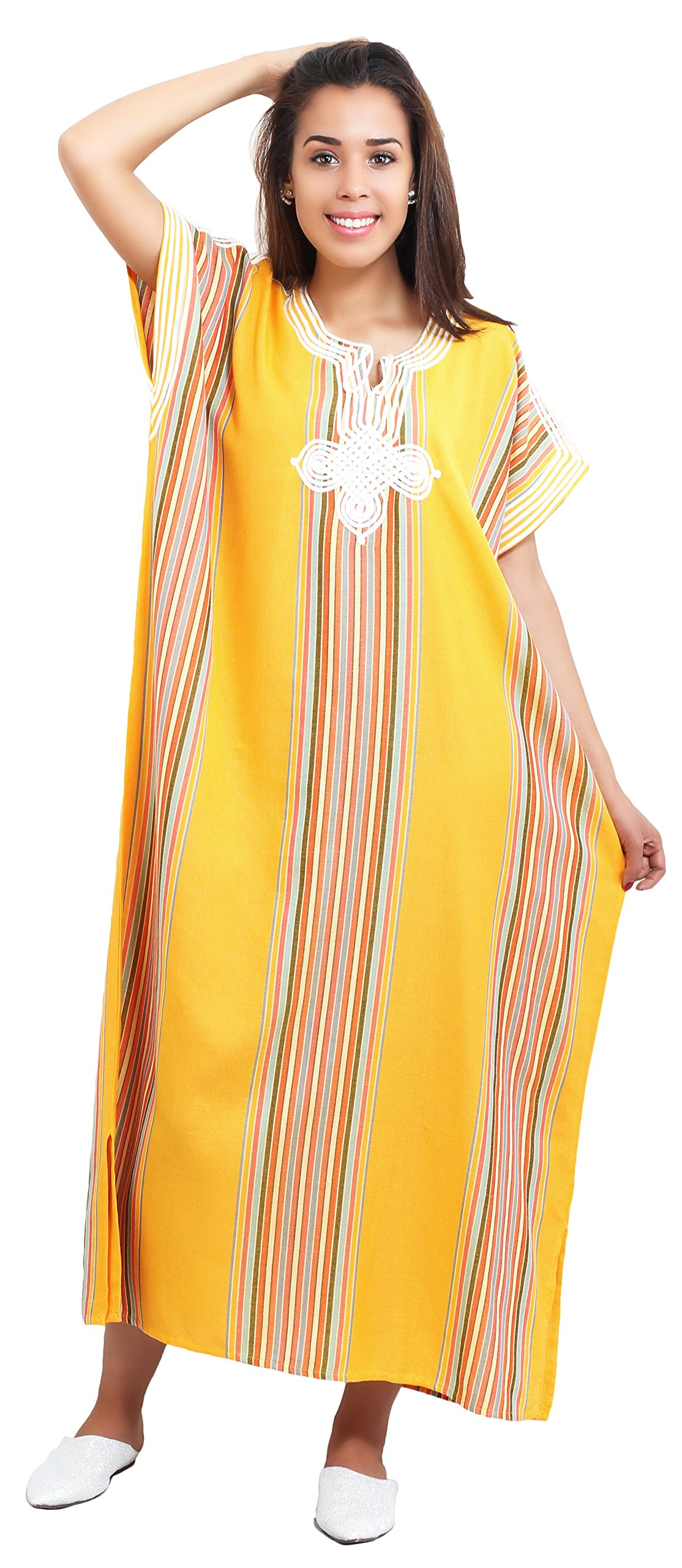 Moroccan Caftan Women Light Weight Linen Handmade with Embroidery Fits Small To Large Coverup Loungewear Ethnic Design Yellow