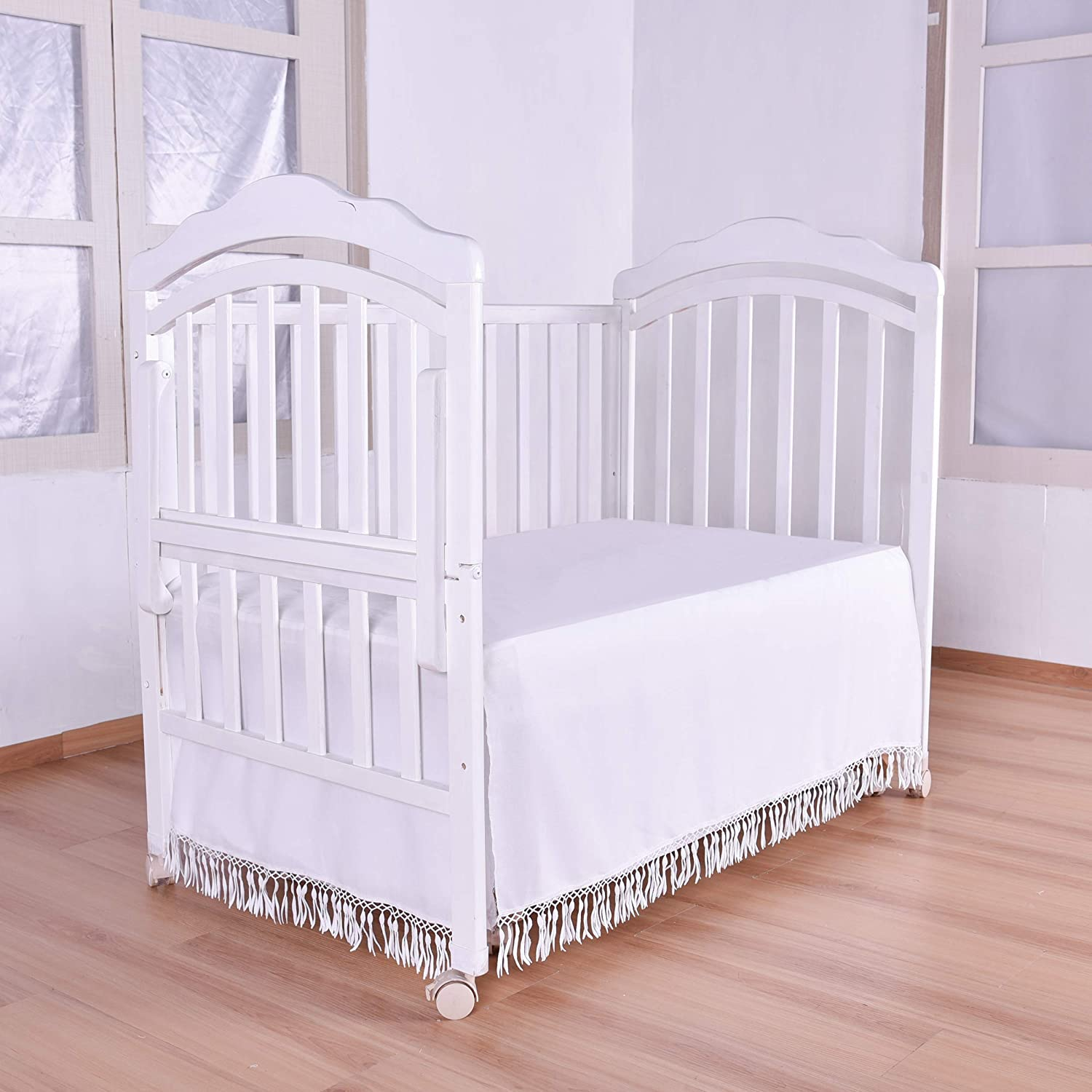 Ruffle Crib Skirt With Lace Trim Nursery Bed For Baby Extech Ct70 Ac Circuit Load Tester Girls White Droplets