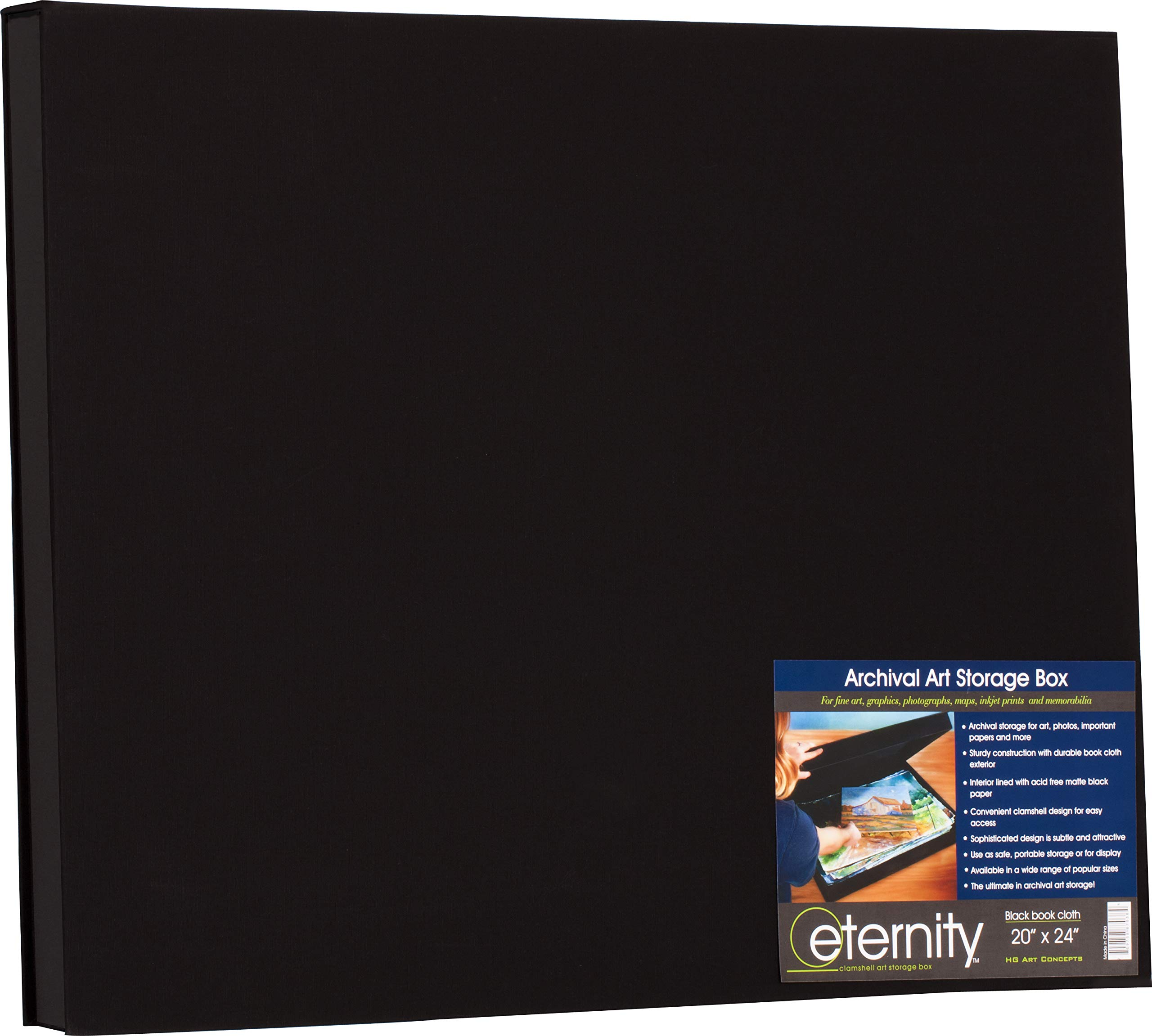 HG Concepts Art Photo Storage Box Eternity Archival Clamshell Box for Storing Artwork, Photos & Documents Deluxe Acid-Free Sturdy & Lined with Archival Paper - [Black - 20'' x 24'']