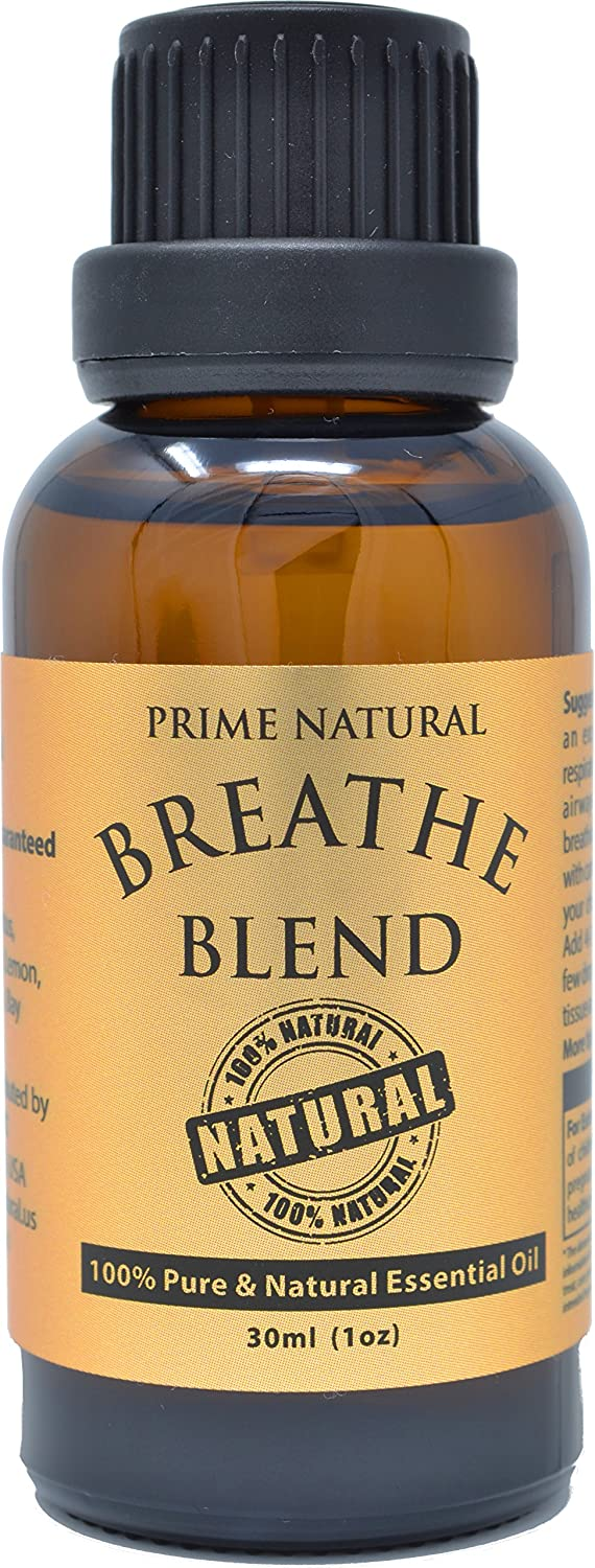 Breathe Essential Oil Blend 30ml / 1oz - Natural Pure & Undiluted Best for Aromatherapy & Scents - Sinus Relief, Congestion Relief, Cold, Cough, Headache & Respiratory Problems