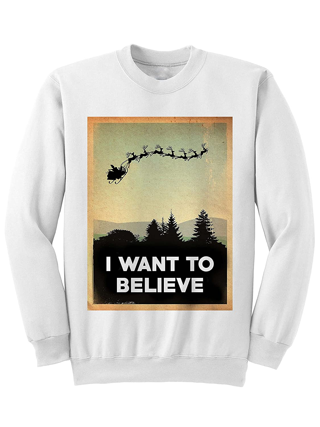 Celebrity Cotton Want To Believe Christmas Sweater Ugly Sweaters Funny Gifts