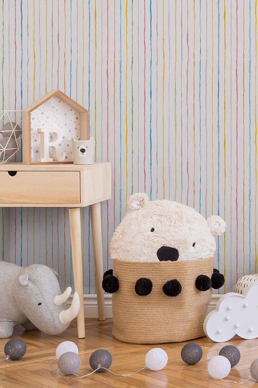 Esprit Home Papiertapete /Ökotapete Esprit Kids Dots /& Stipes Tapete Streifentapete Kindertapete 10,05 m x 0,53 m bunt Made in Germany atmungsaktiv feuchtigkeitsregulierend umweltfreundlich 941351 94135-1