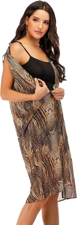 Women Sleeveless Long Drape Open Front Cardigan Sleeveless Duster Vest Outwear