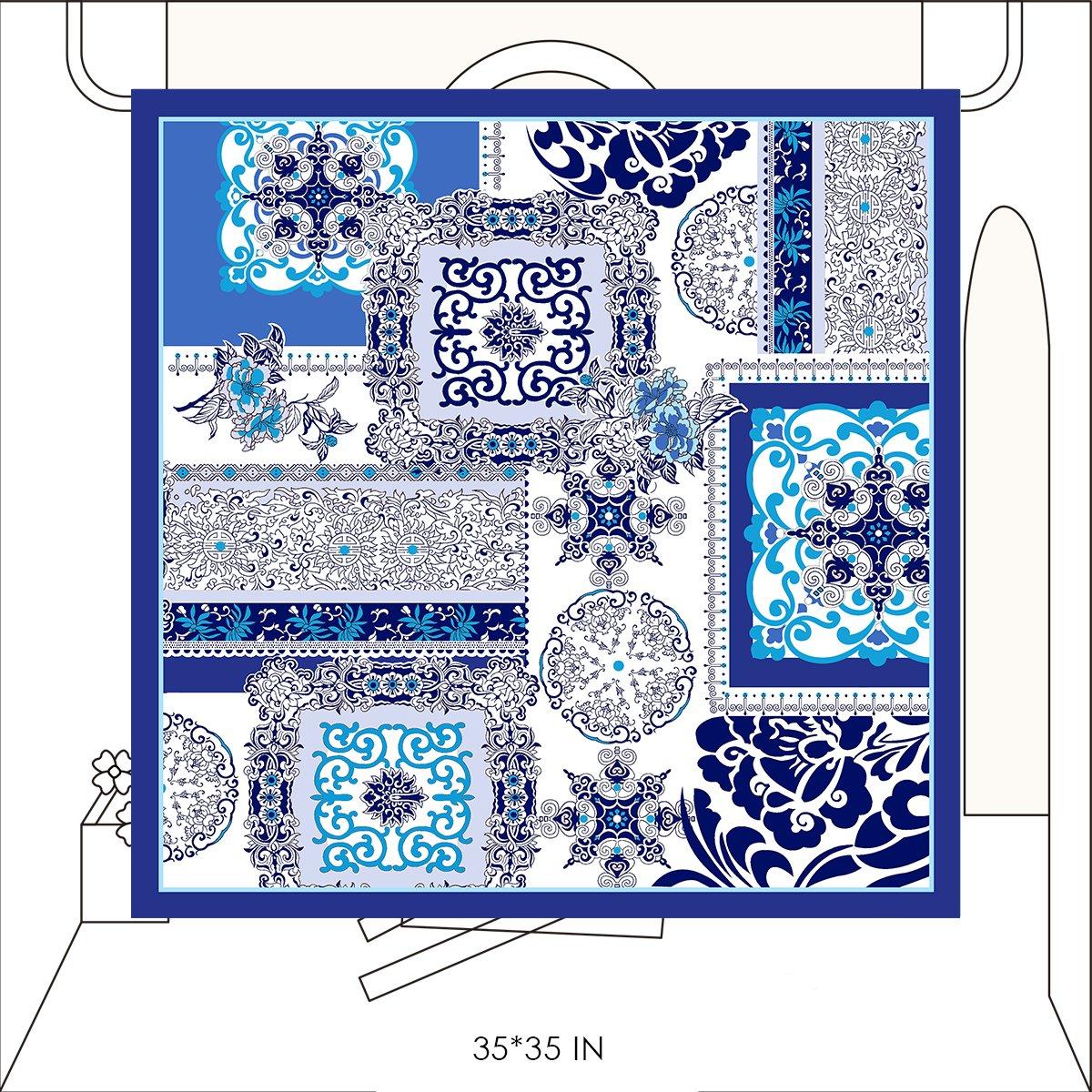 WENSLI Scarfs Lightweight Fashion Scarves Women Scarf Chiffon Scarves (White and dark blue)