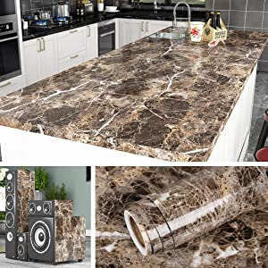Livelynine Self Adhesive Wallpaper for Kitchen Counter Top Covers Marble Contact Paper Peel and Stick Countertops Waterproof Furniture Table Sticker Cabinet Desktop Cover 15.8x78.8 Inch