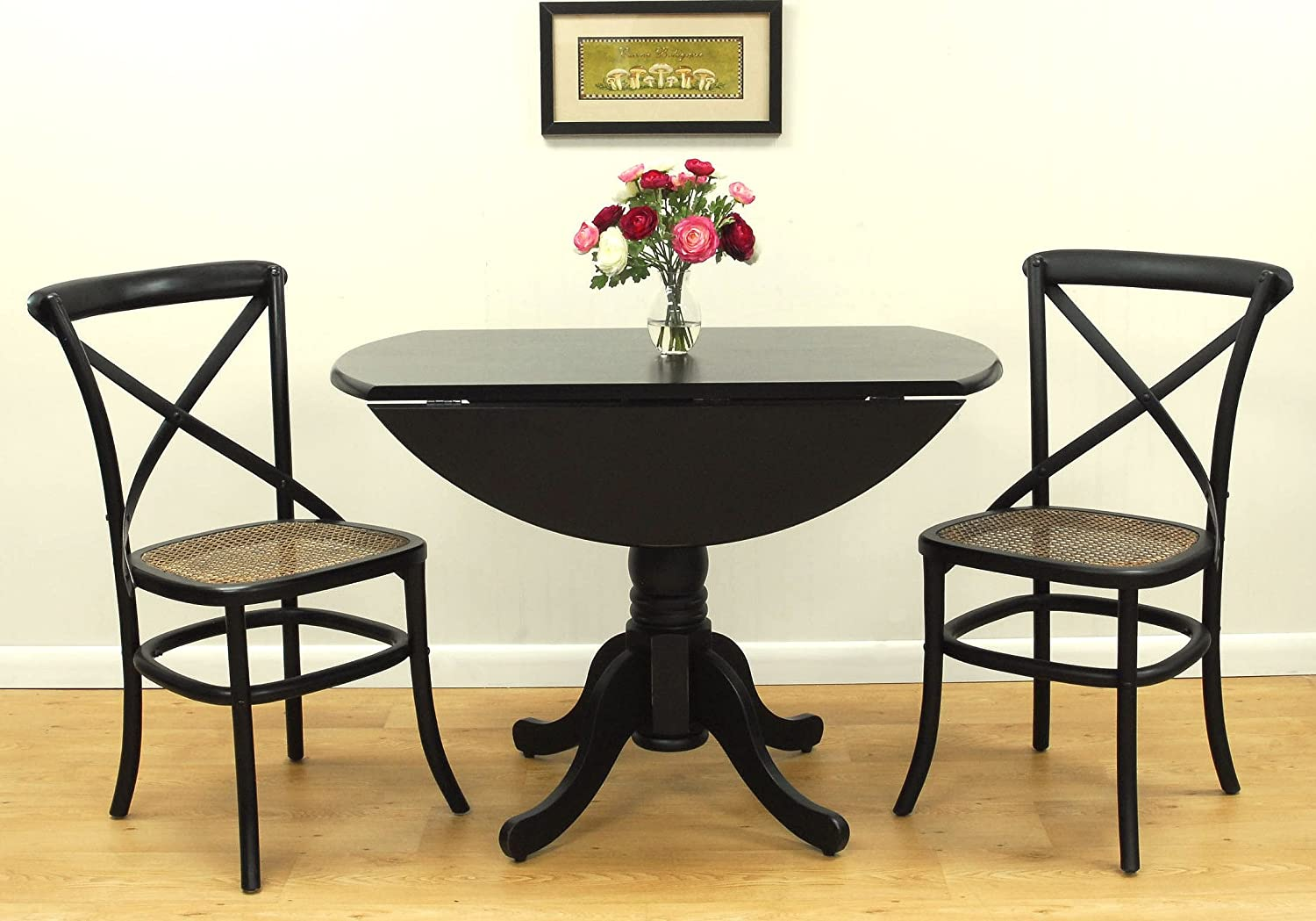 Black Drop Leaf Kitchen Table Amazon carolina cottage 42 inch round drop leaf table antique amazon carolina cottage 42 inch round drop leaf table antique black tables workwithnaturefo
