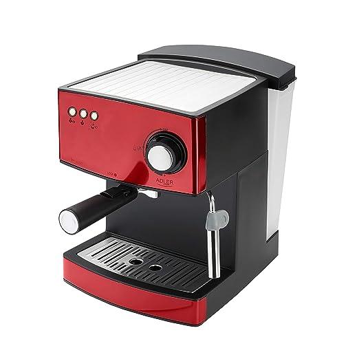 Adler AD 4404r Cafetera Expreso Automática, 15 Bares, Vaporizador para Leche, 1,6 Litros, 850W, 850 W, 0 Decibeles, Acero Inoxidable, Rojo