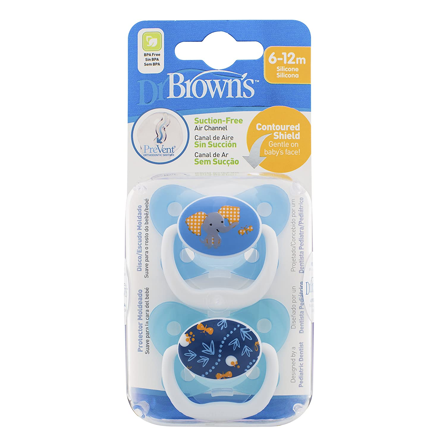 Dr Brown's Prevent Soother (6 to 12 Months, Blue, Pack of 2) Dr Brown's Natural Flow DRB-PV22402
