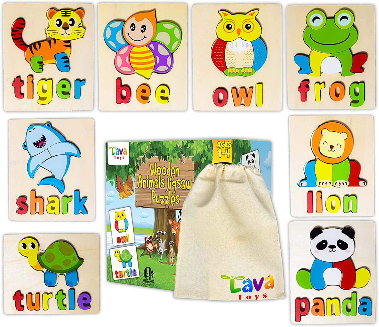 Lava Toys Wooden Animals Jigsaw Puzzles for Toddlers 1 2 3 4 Years Old Montessori Educational Toys for Baby Boys & Girls Gifts Box 8 Animals Patterns with Alphabet Spelling Stem Travel Toy