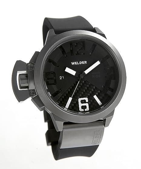 Welder K24 3002 - Reloj analógico de caballero automático con correa de goma negra - sumergible