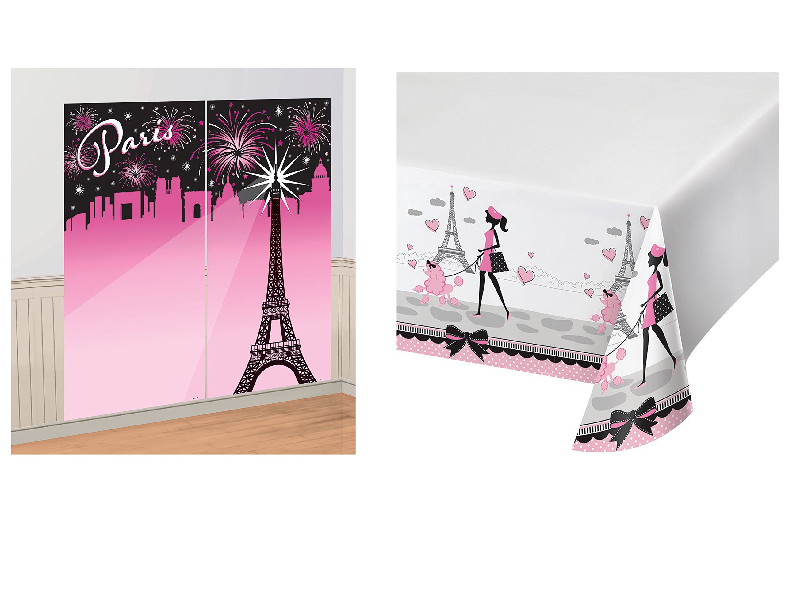 Set of 2 Amscan A Day in Paris Scene Setter and Creative Converting Border Print Plastic Tablecover, 54 x 102 bundled by Maven Gifts