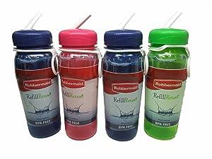 Rubbermaid Refill Reuse Premium Sip-top Bottles, BPA Free, 20 Oz (Pack of 4)