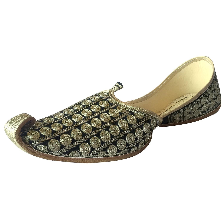 Step n Style Mens Punjabi Jutti Sherwani Shoes Black Khussa Shoes ...