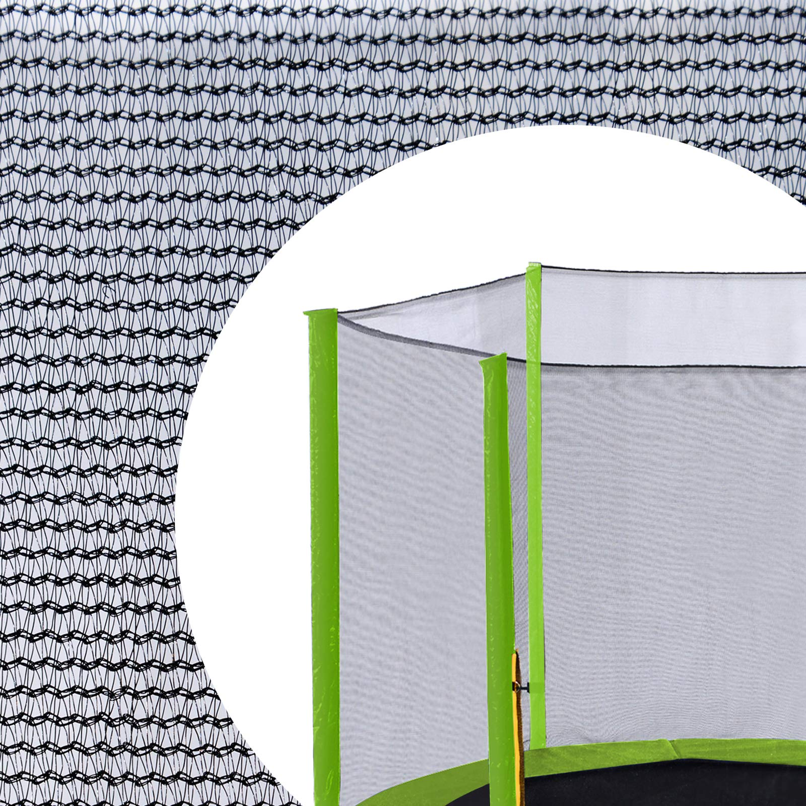 Exacme 15 Foot Trampoline Replacement Outer Enclosure Net with 6 Light Green Sleeves, Poles Not Included, EN015LG