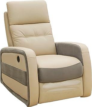 Fauteuil relax électrique MARCO cuir beige et tissu gris Amazon