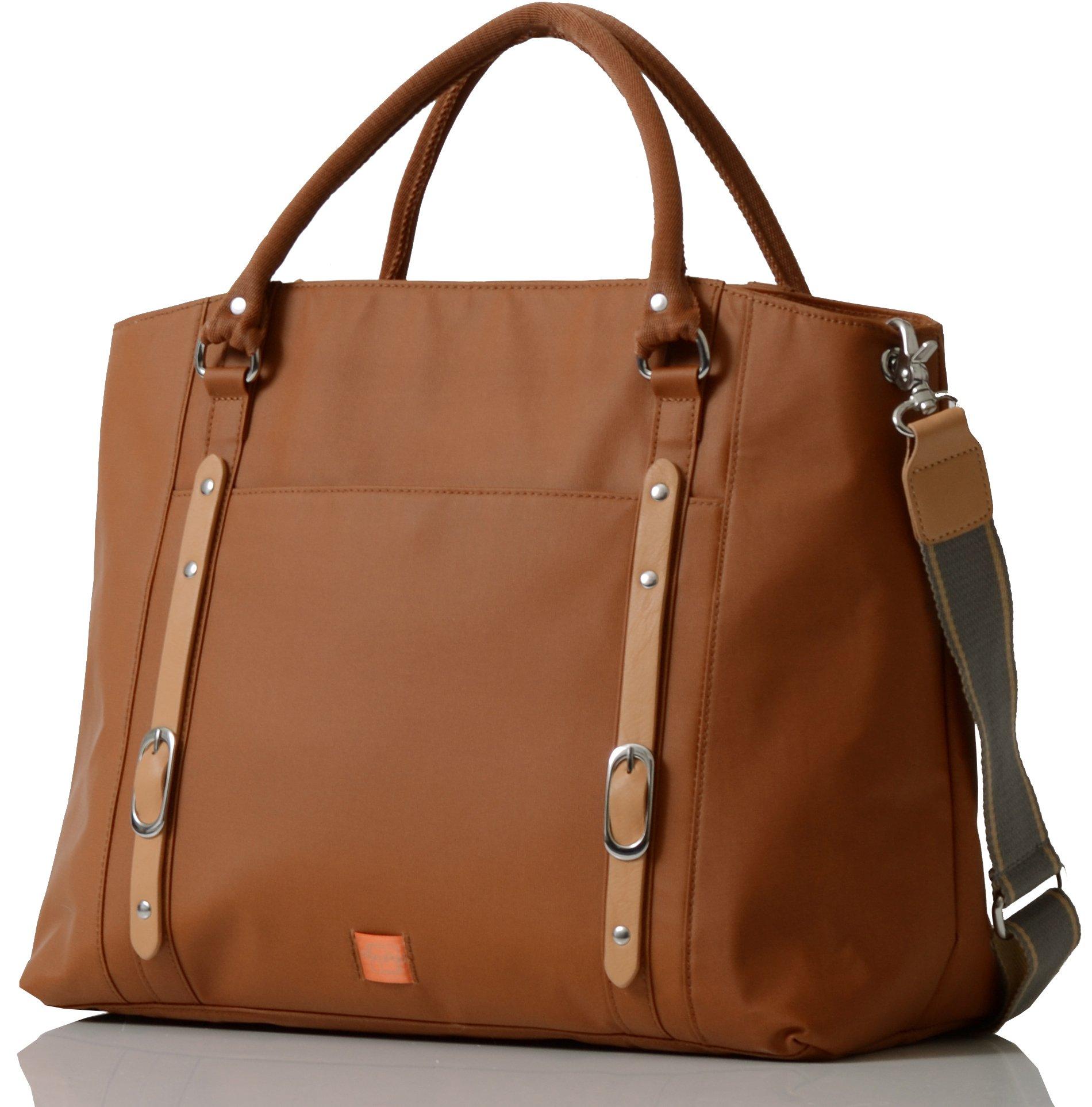 PacaPod Mirano Tan Designer Baby Diaper Bag - Luxury Tan Tote 3 in 1 Organising System