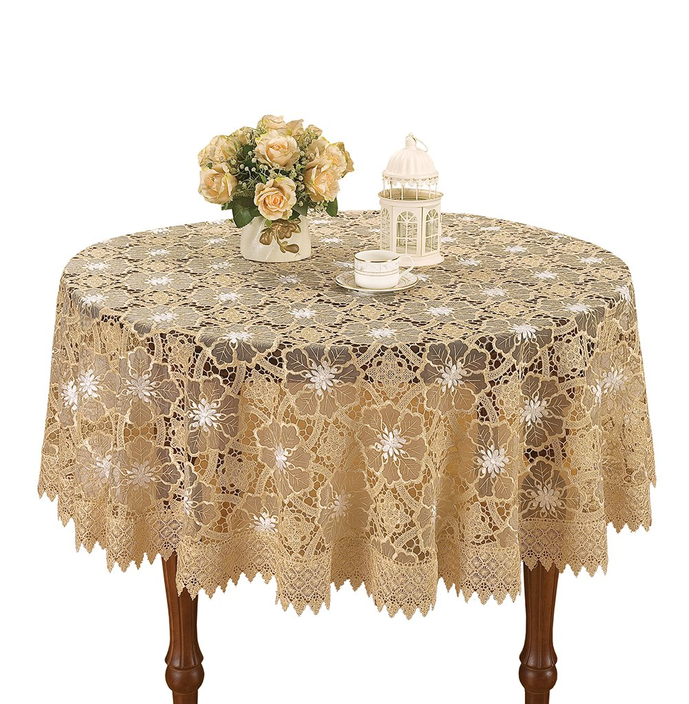 Christmas Tablescape Décor - Unique beige organza embroidered white flower lace small round tablecloth - Available in many table sizes