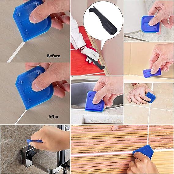 QKURT 14PCS Boquilla para Calafatear,Aplicador de boquilla de calafateo de acabado de calafateo de acero inoxidable para fregadero de cocina de piso de ventana de ba/ño