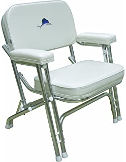 Wise Marlin Logo Folding Deck Chair With Aluminum Frame, White