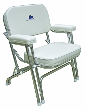 Wise 8WD119 710 Marlin Logo Folding Deck Chair With Aluminum Frame, White