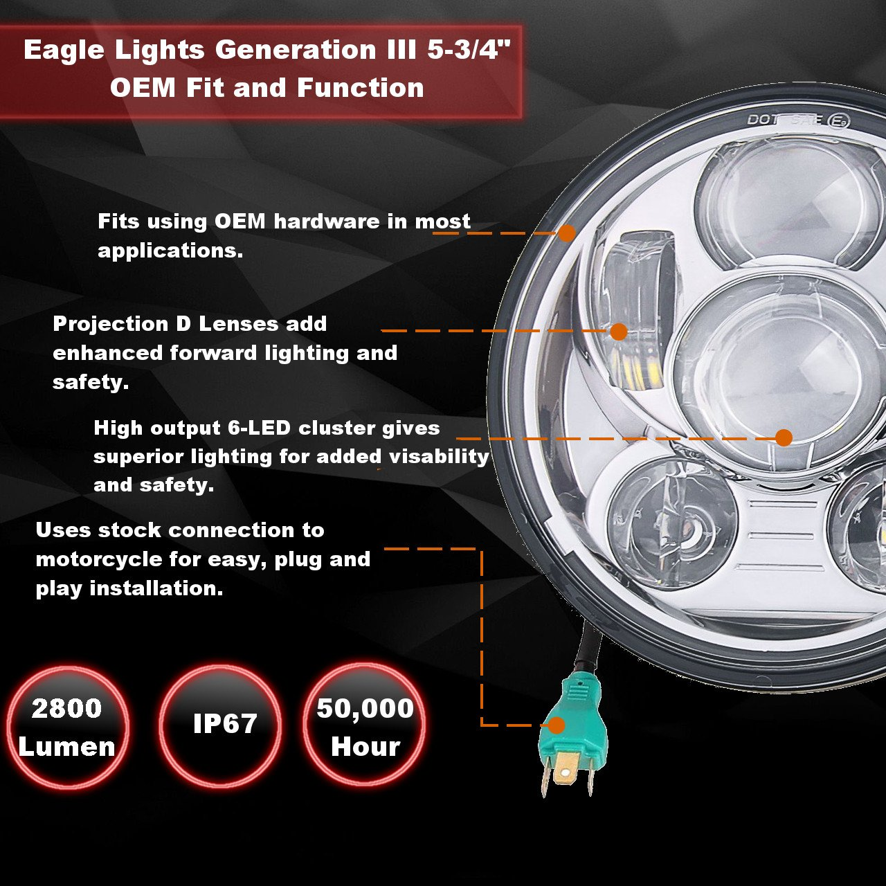 Eagle Lights 5 3 4 Chrome Led Projection Headlight Exciting Scout Crafts 1 Or 2 Headlamp Generation Iii For Harley Sportster Dyna Others Everything Else