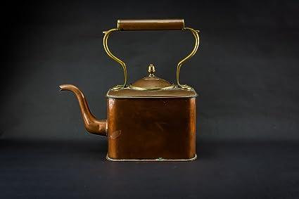 Arte Y Artesanía Antigüedad Diseño único Kettle Cobre Rectangular