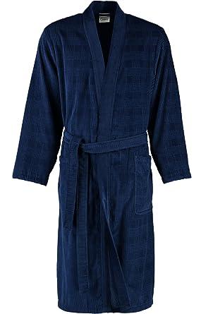 3abd5018d1fb18 Cawö Herren Bademantel Saunamantel Leichtvelours Qualität Kimono Form blau  oder grau: Amazon.de: Bekleidung