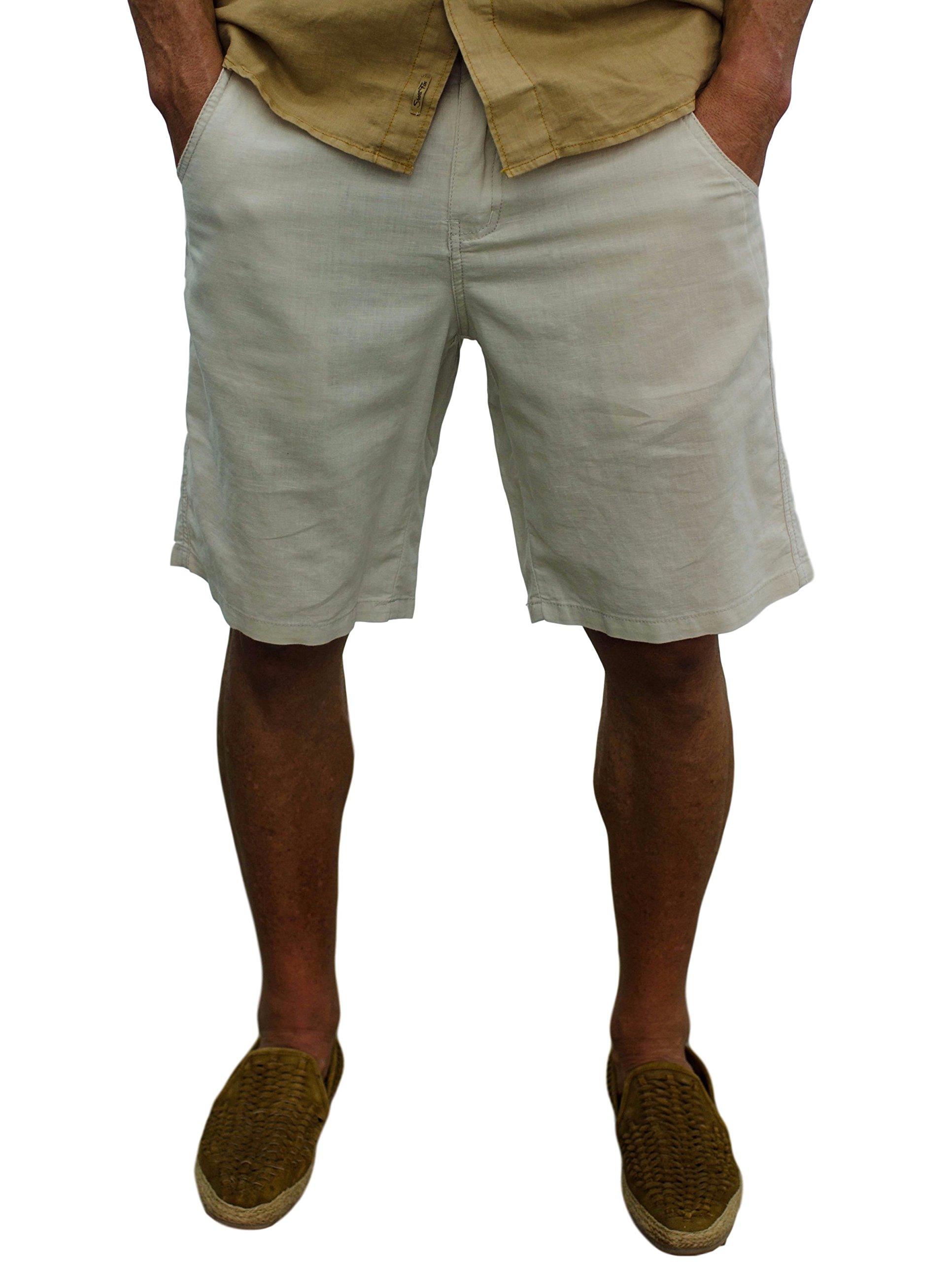 Short Fin Linen Walking Shorts (Size 34, Stone L8000)