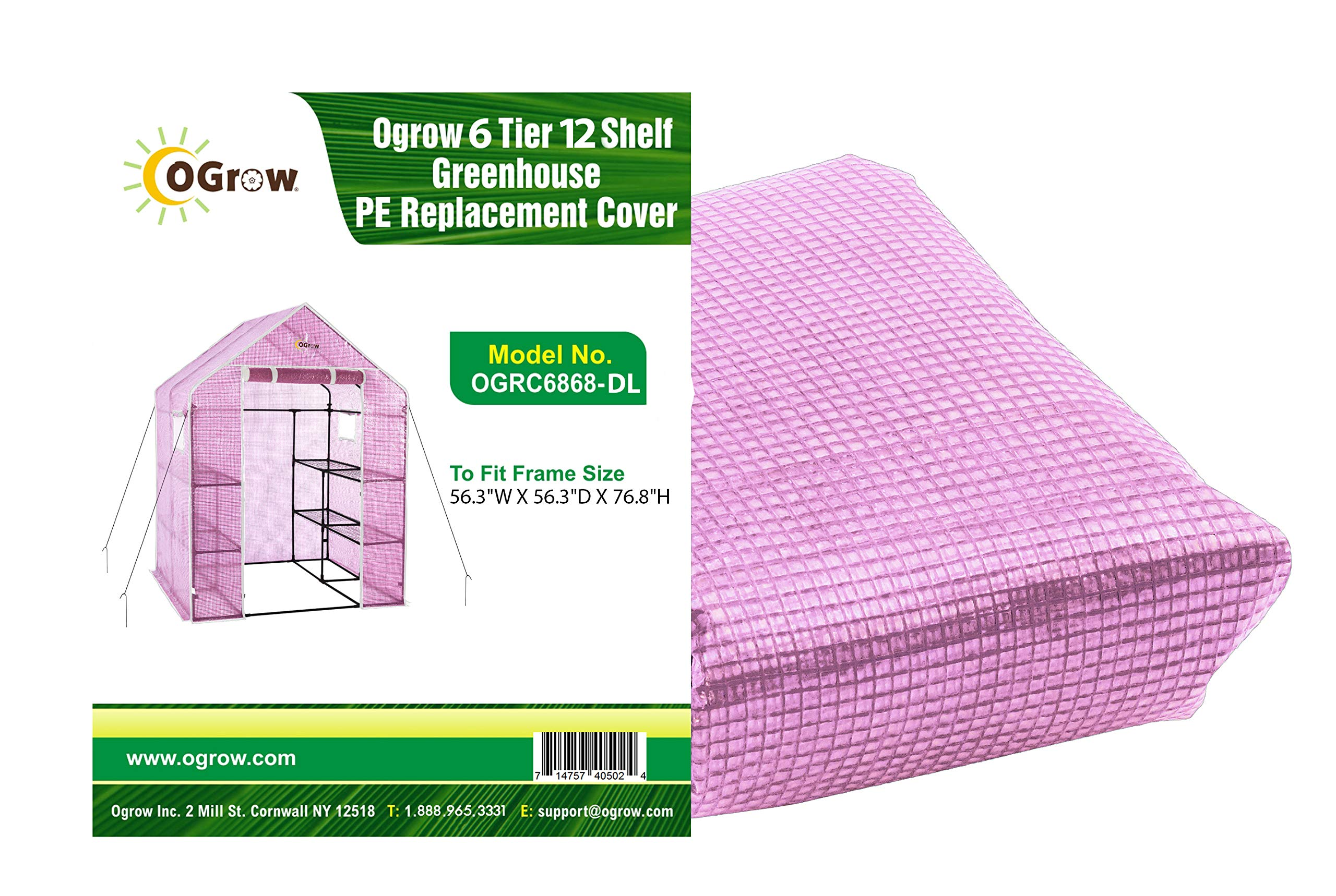 OGrow OGRC6868-D Lilac Greenhouse Replacement Cover, Fit for Frame Size 56.3'' w X 56.3'' d X 76.8'' h by OGrow (Image #1)